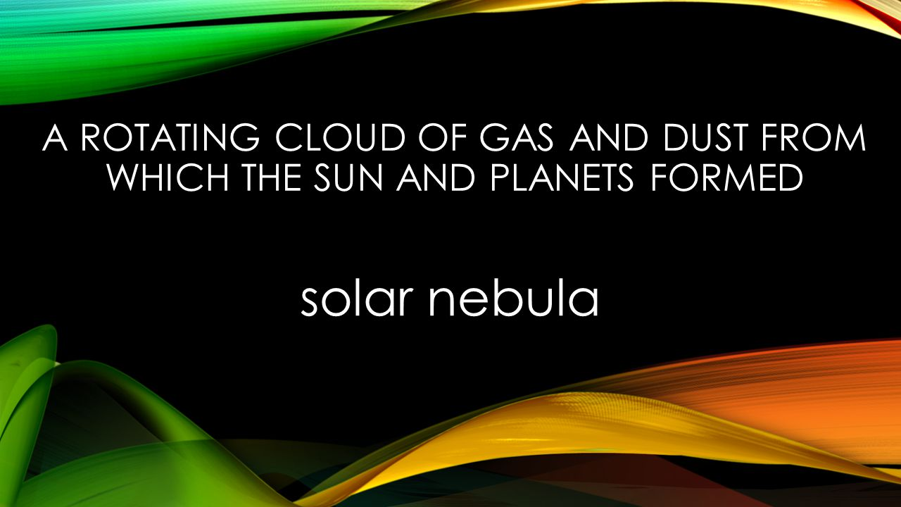 A ROTATING CLOUD OF GAS AND DUST FROM WHICH THE SUN AND PLANETS FORMED solar nebula