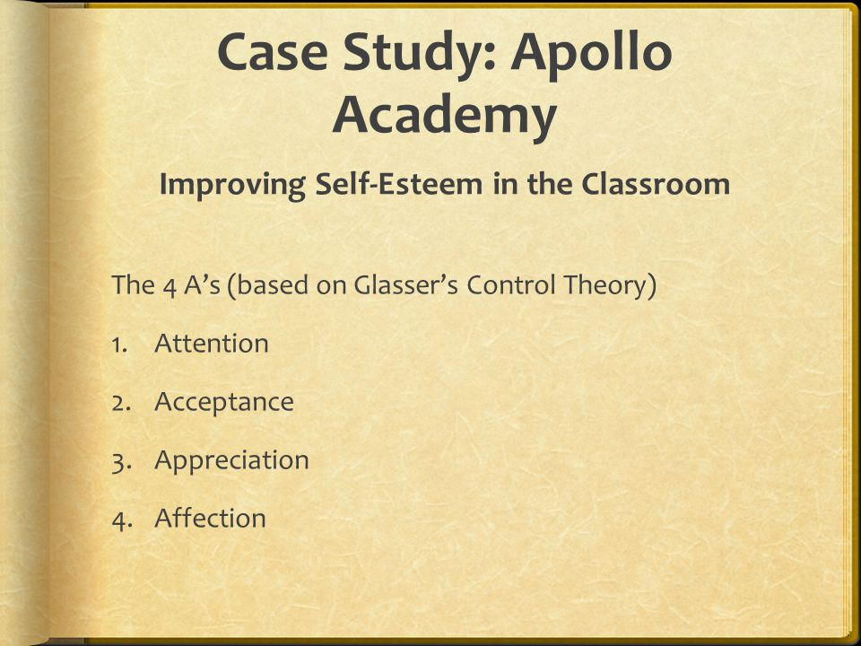 Case Study: Apollo Academy Improving Self-Esteem in the Classroom The 4 A's (based on Glasser's Control Theory) 1.Attention 2.Acceptance 3.Appreciatio