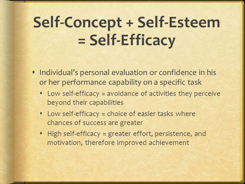 Self-Concept + Self-Esteem = Self-Efficacy  Individual's personal evaluation or confidence in his or her performance capability on a specific task 