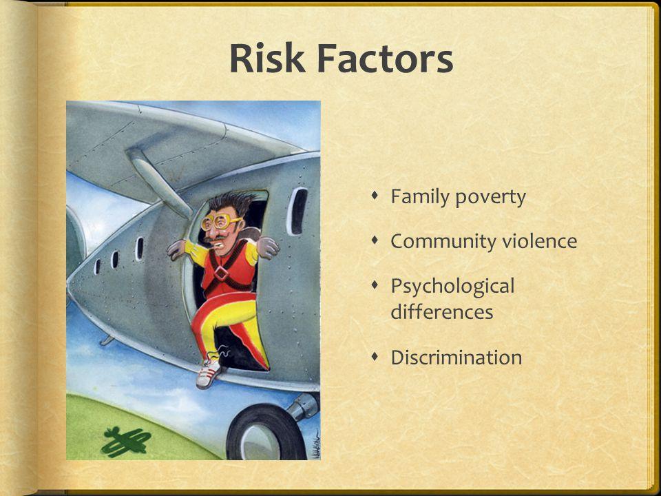Risk Factors  Family poverty  Community violence  Psychological differences  Discrimination