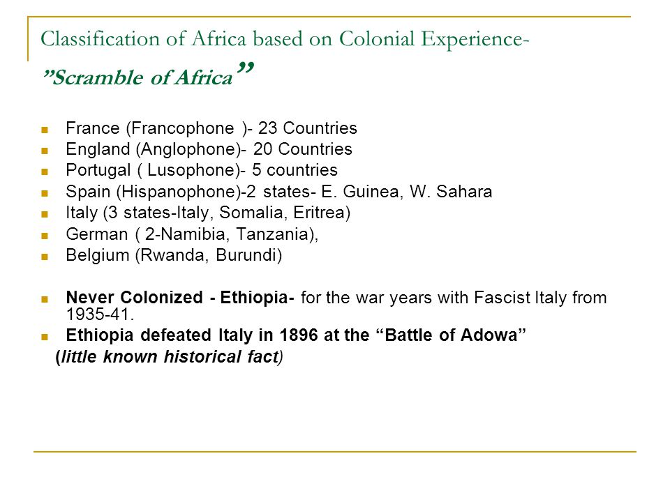 The colonial experience in Africa and the Indian Sub Continent?