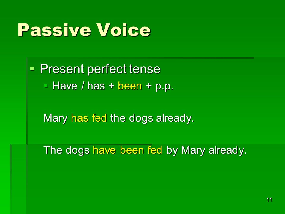 11 Passive Voice  Present perfect tense  Have / has + been + p.p.
