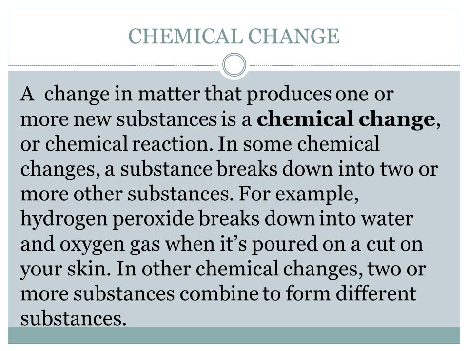 chemical and physical changes in matter