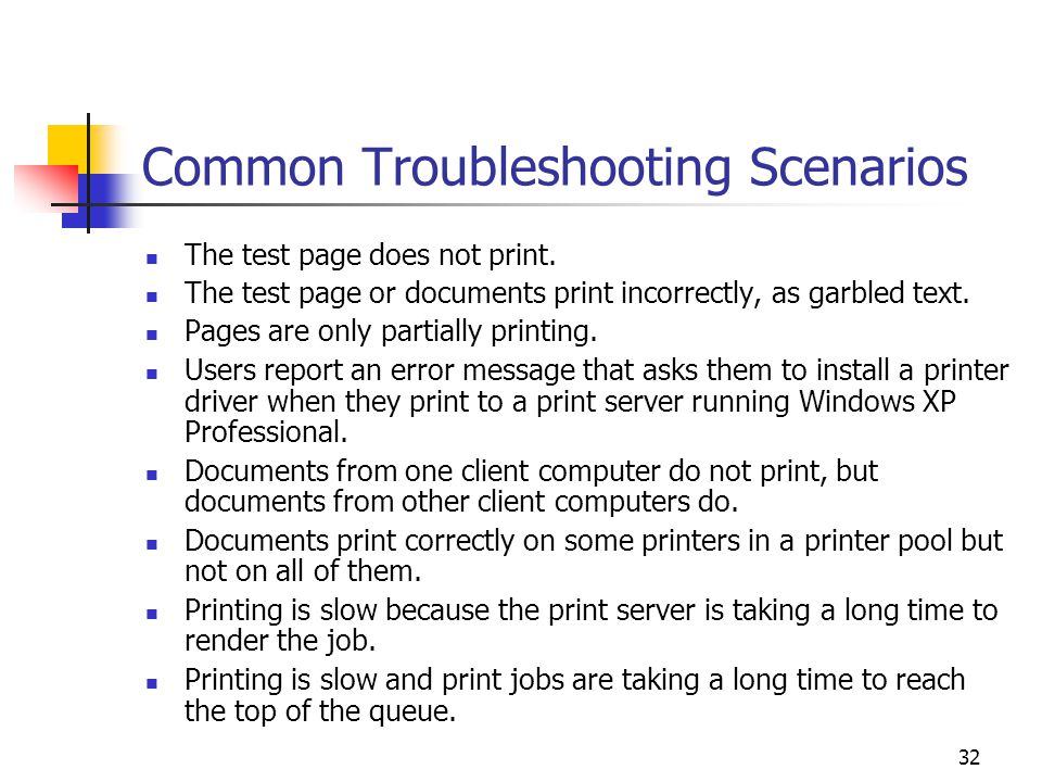 32 Common Troubleshooting Scenarios The test page does not print.