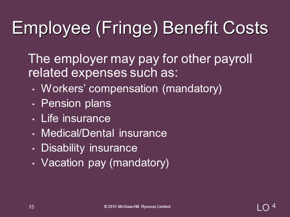 The employer may pay for other payroll related expenses such as: Workers' compensation (mandatory) Pension plans Life insurance Medical/Dental insurance Disability insurance Vacation pay (mandatory) © 2013 McGraw-Hill Ryerson Limited.