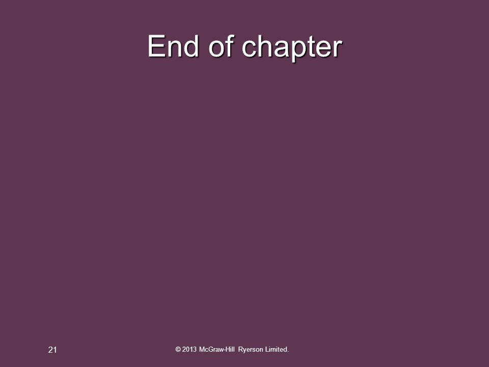 End of chapter © 2013 McGraw-Hill Ryerson Limited. 21