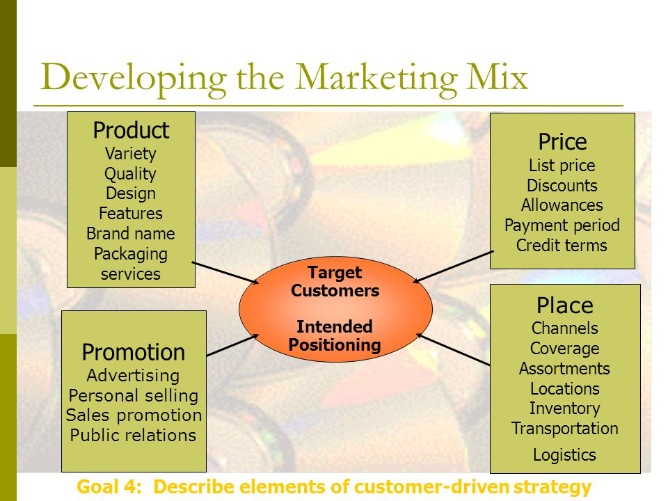 16 Target Customers Intended Positioning Product Variety Quality Design Features Brand name Packaging services Price List price Discounts Allowances Payment period Credit terms Promotion Advertising Personal selling Sales promotion Public relations Place Channels Coverage Assortments Locations Inventory Transportation Logistics Developing the Marketing Mix Goal 4: Describe elements of customer-driven strategy