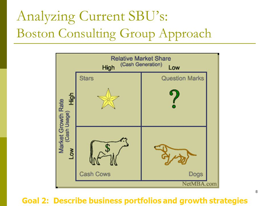 8 Analyzing Current SBU's: Boston Consulting Group Approach Goal 2: Describe business portfolios and growth strategies