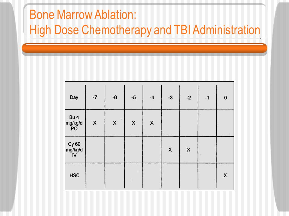 Bone Marrow Ablation: High Dose Chemotherapy and TBI Administration