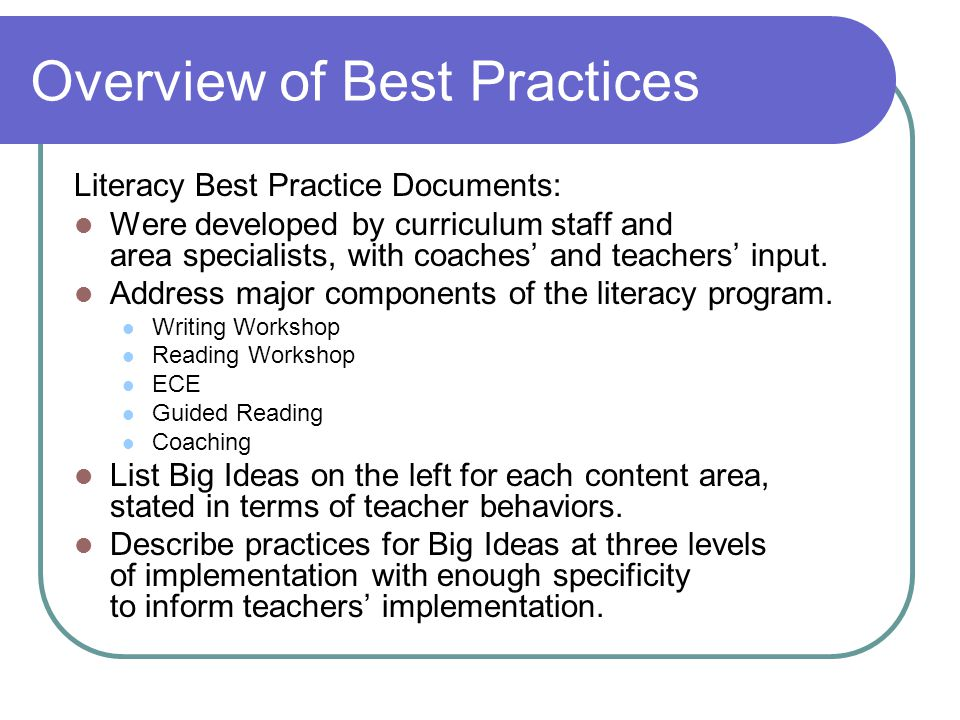 Overview of Best Practices Literacy Best Practice Documents: Were developed by curriculum staff and area specialists, with coaches' and teachers' input.