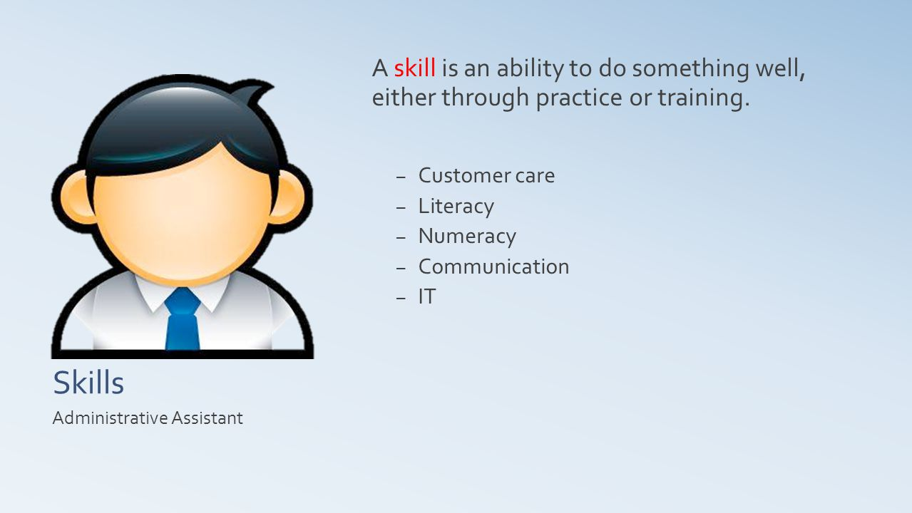 Skills A skill is an ability to do something well, either through practice or training.