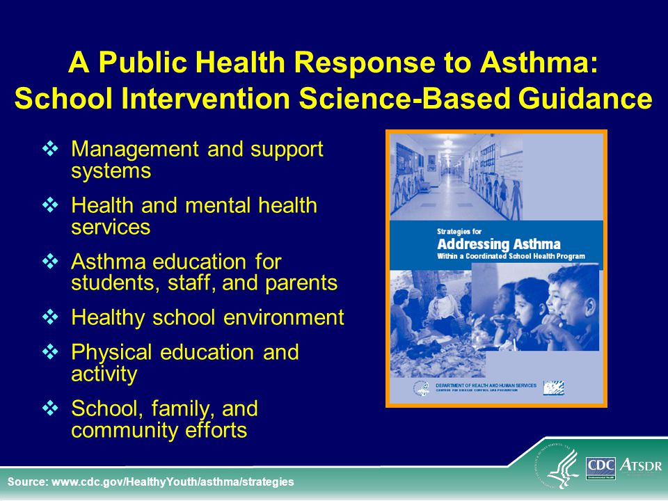A Public Health Response to Asthma: School Intervention Science-Based Guidance  Management and support systems  Health and mental health services  Asthma education for students, staff, and parents  Healthy school environment  Physical education and activity  School, family, and community efforts Source: