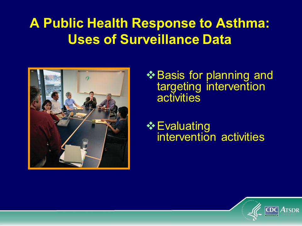 A Public Health Response to Asthma: Uses of Surveillance Data  Basis for planning and targeting intervention activities  Evaluating intervention activities