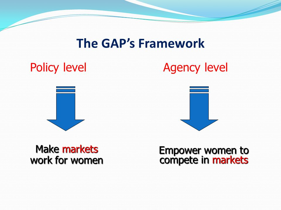 The GAP's Framework Policy level Agency level Empower women to compete in markets Make markets work for women
