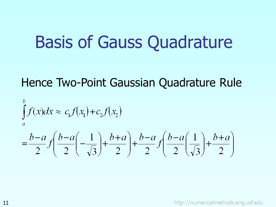 Basis of Gauss Quadrature Hence Two-Point Gaussian Quadrature Rule