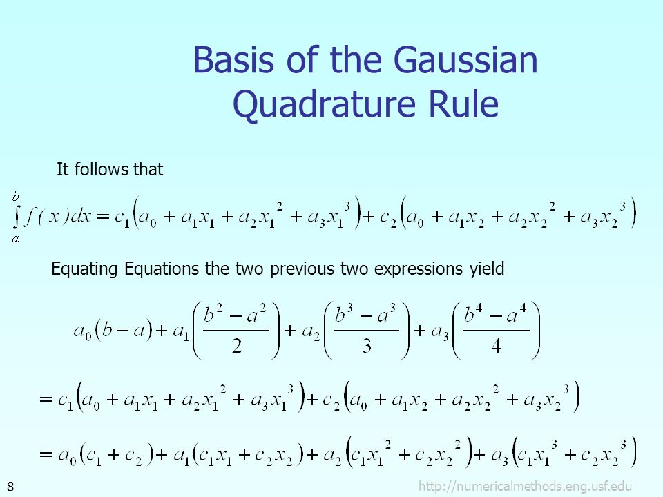 Basis of the Gaussian Quadrature Rule It follows that Equating Equations the two previous two expressions yield