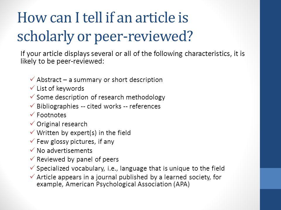 How do I find peer reviwed articles?