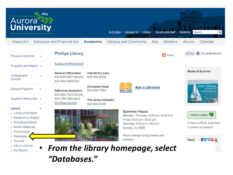 From the library homepage, select Databases.