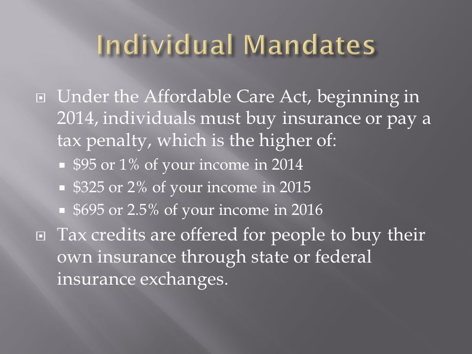  Under the Affordable Care Act, beginning in 2014, individuals must buy insurance or pay a tax penalty, which is the higher of:  $95 or 1% of your income in 2014  $325 or 2% of your income in 2015  $695 or 2.5% of your income in 2016  Tax credits are offered for people to buy their own insurance through state or federal insurance exchanges.