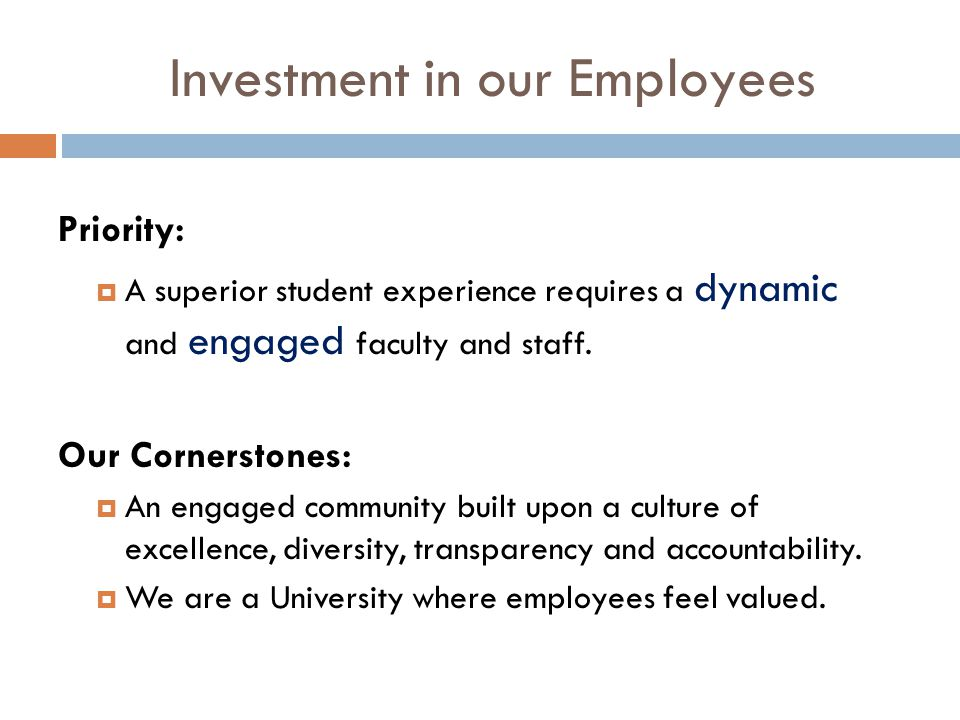 Investment in our Employees Priority:  A superior student experience requires a dynamic and engaged faculty and staff.