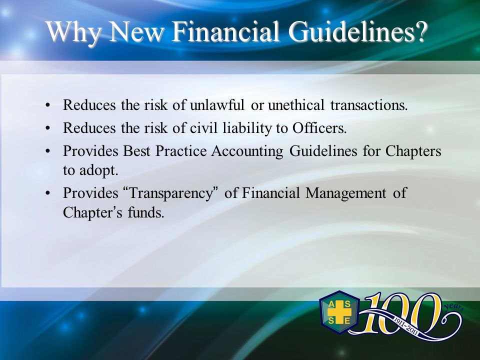 Why New Financial Guidelines. Reduces the risk of unlawful or unethical transactions.