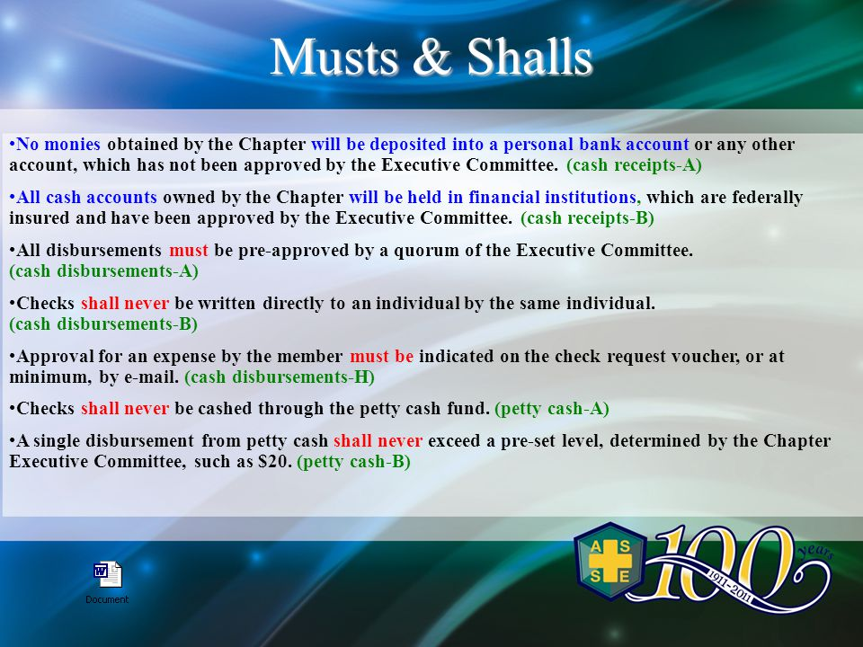 No monies obtained by the Chapter will be deposited into a personal bank account or any other account, which has not been approved by the Executive Committee.