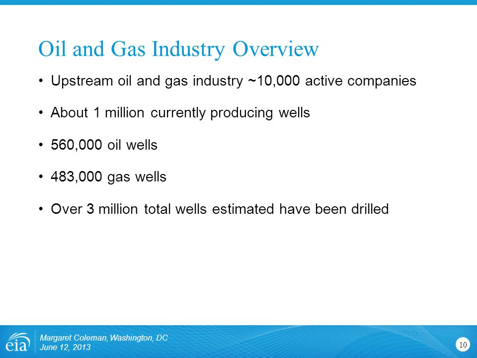 Oil and Gas Industry Overview Margaret Coleman, Washington, DC June 12, Upstream oil and gas industry ~10,000 active companies About 1 million currently producing wells 560,000 oil wells 483,000 gas wells Over 3 million total wells estimated have been drilled