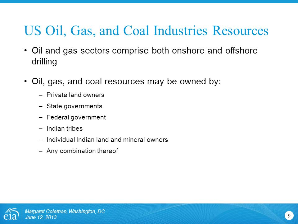 US Oil, Gas, and Coal Industries Resources 9 Oil and gas sectors comprise both onshore and offshore drilling Oil, gas, and coal resources may be owned by: –Private land owners –State governments –Federal government –Indian tribes –Individual Indian land and mineral owners –Any combination thereof Margaret Coleman, Washington, DC June 12, 2013