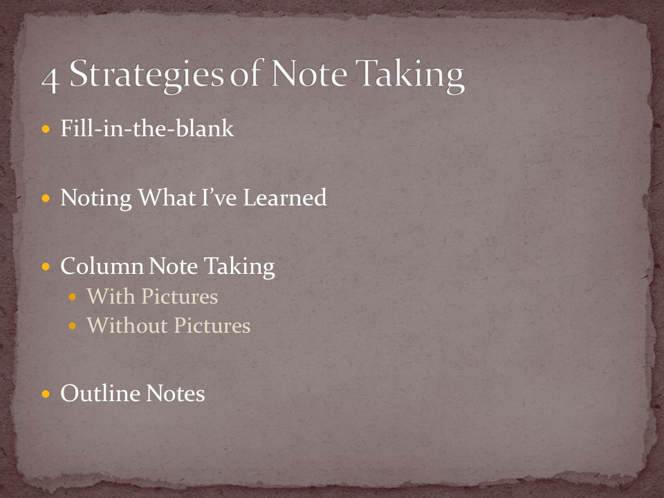 Fill-in-the-blank Noting What I've Learned Column Note Taking With Pictures Without Pictures Outline Notes