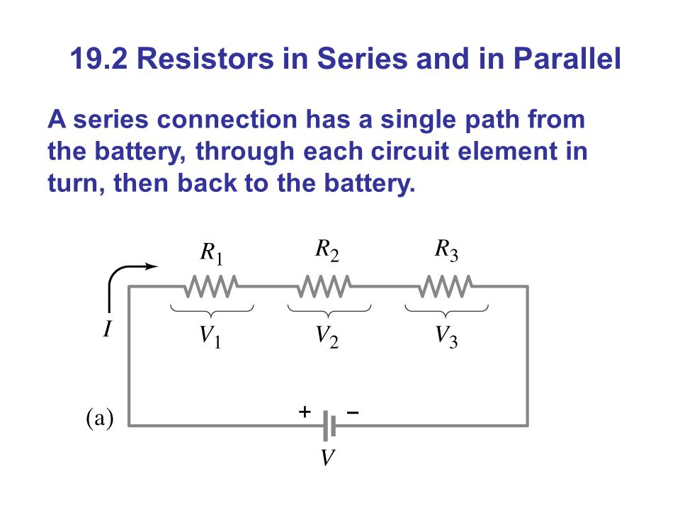 19.2 Resistors in Series and in Parallel A series connection has a single path from the battery, through each circuit element in turn, then back to the battery.