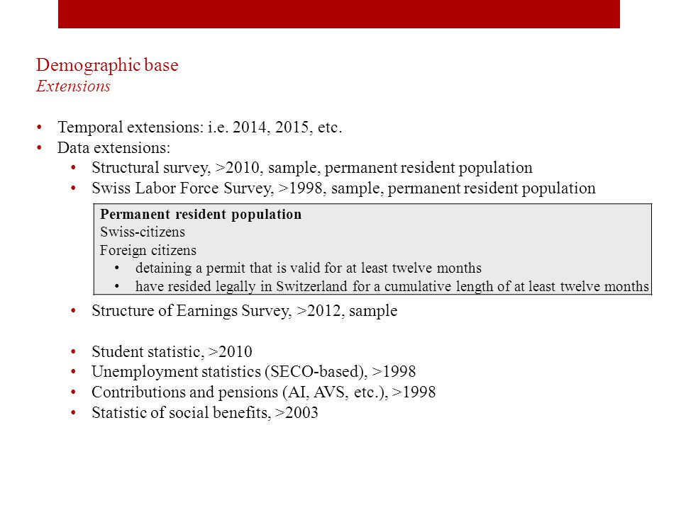 Demographic base Extensions Temporal extensions: i.e.