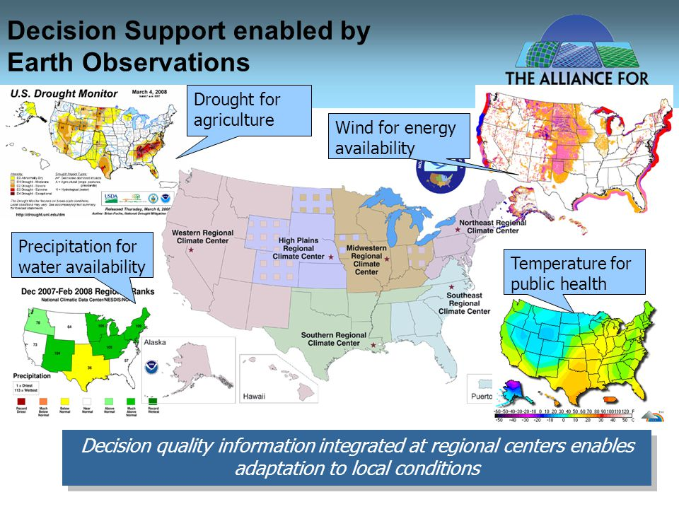 Decision Support enabled by Earth Observations Decision quality information integrated at regional centers enables adaptation to local conditions Drought for agriculture Precipitation for water availability Wind for energy availability Temperature for public health