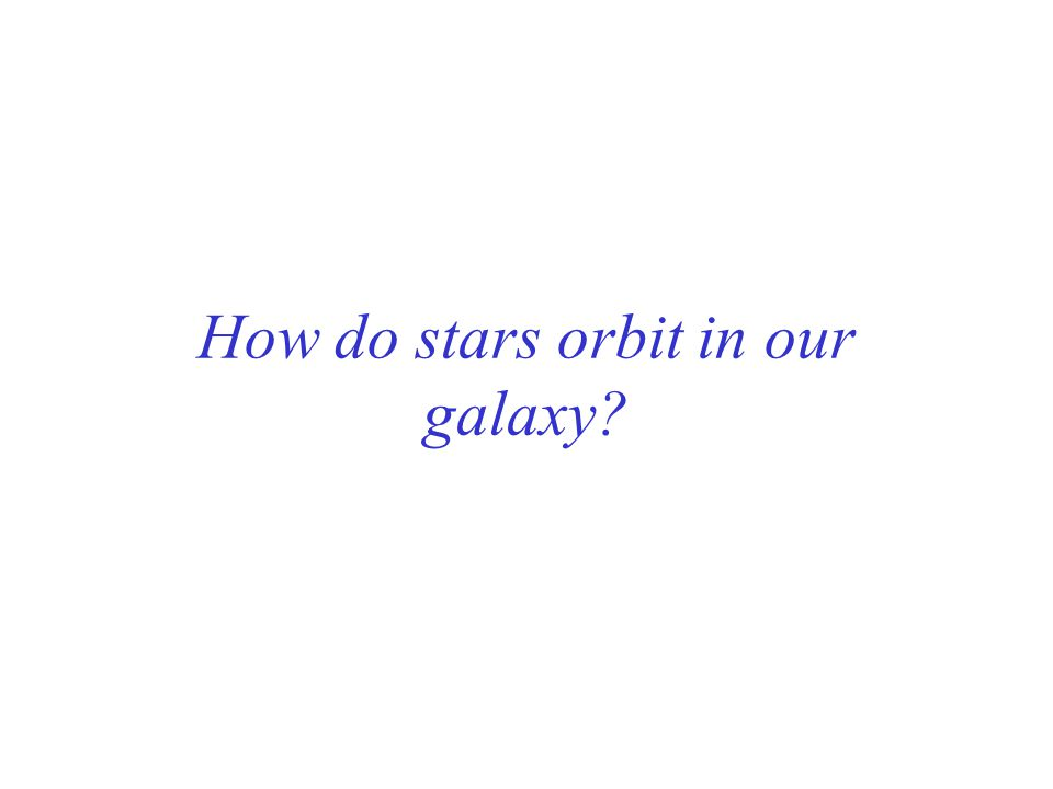 How do stars orbit in our galaxy