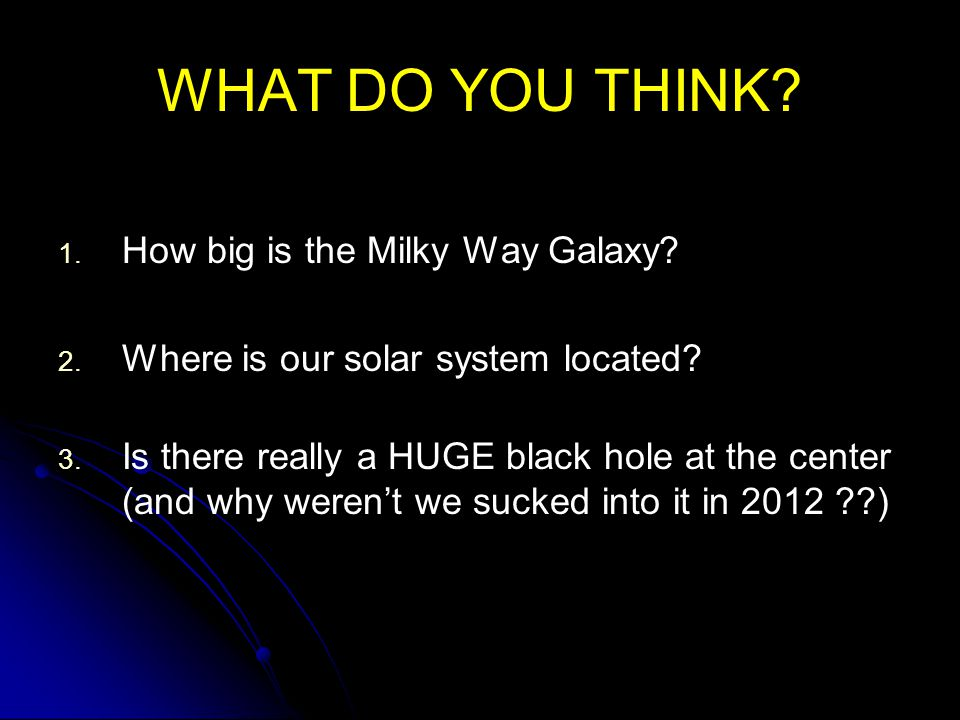 WHAT DO YOU THINK How big is the Milky Way Galaxy.