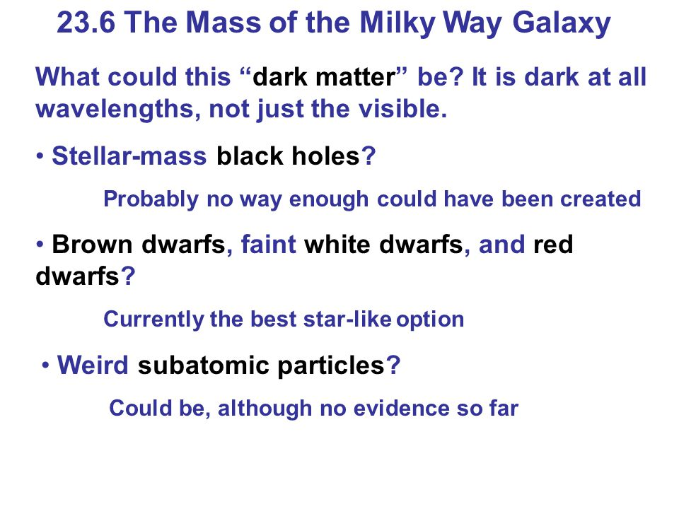 23.6 The Mass of the Milky Way Galaxy What could this dark matter be.