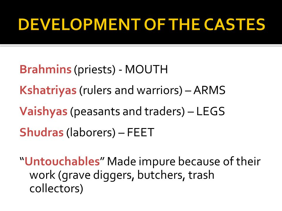 Brahmins (priests) - MOUTH Kshatriyas (rulers and warriors) – ARMS Vaishyas (peasants and traders) – LEGS Shudras (laborers) – FEET Untouchables Made impure because of their work (grave diggers, butchers, trash collectors)