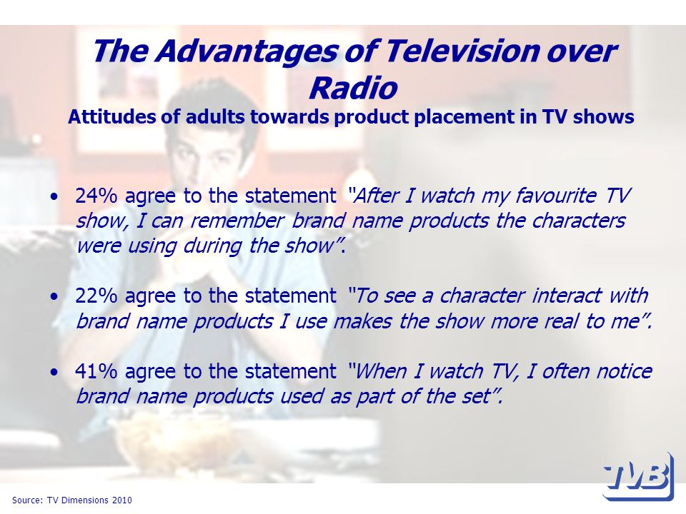 The Advantages of Television over Radio Attitudes of adults towards product placement in TV shows 24% agree to the statement After I watch my favourite TV show, I can remember brand name products the characters were using during the show .