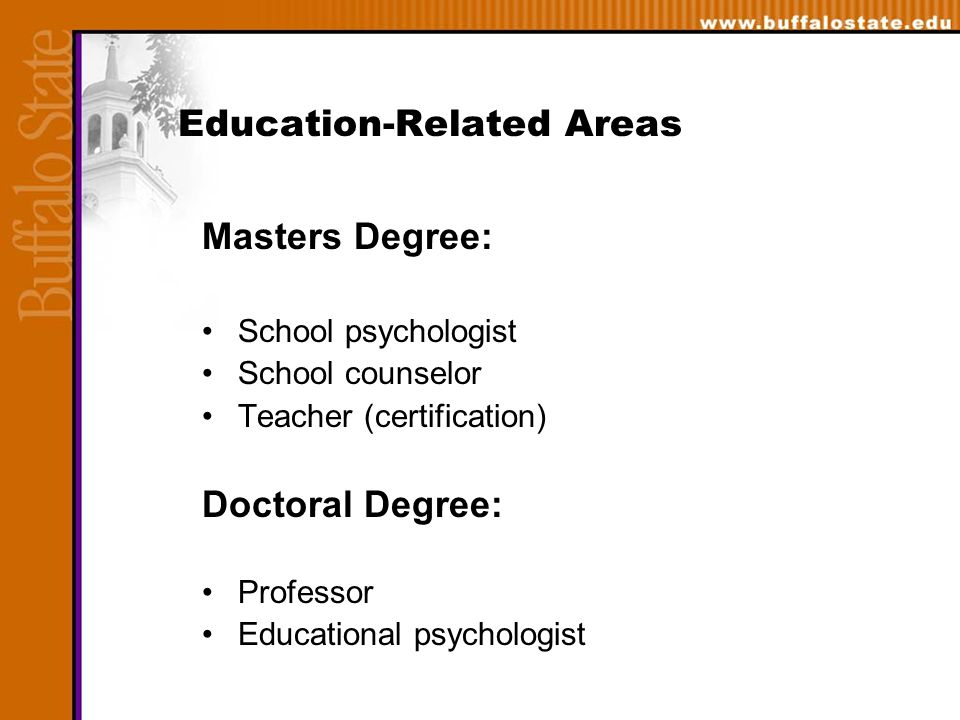Education-Related Areas Masters Degree: School psychologist School counselor Teacher (certification) Doctoral Degree: Professor Educational psychologist