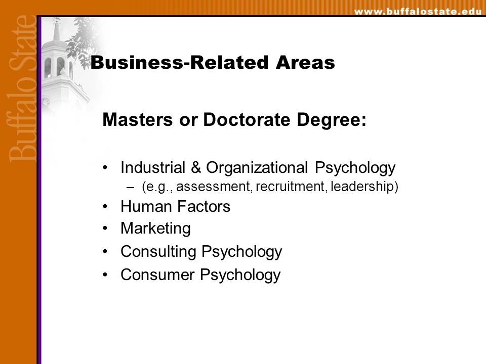 Business-Related Areas Masters or Doctorate Degree: Industrial & Organizational Psychology –(e.g., assessment, recruitment, leadership) Human Factors Marketing Consulting Psychology Consumer Psychology