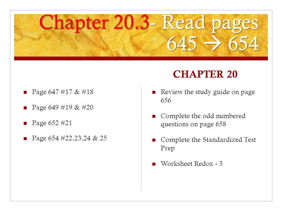 Balancing Redox Equations Many redox equations can be balanced – Chapter 20 Worksheet Redox