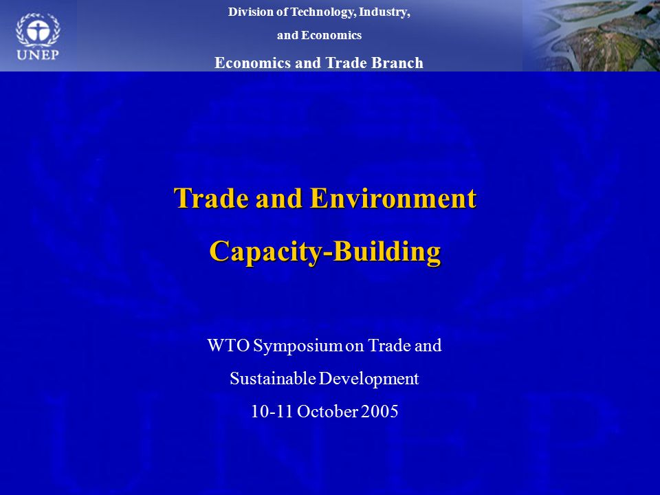 Trade and Environment Capacity-Building WTO Symposium on Trade and Sustainable Development October 2005 Division of Technology, Industry, and Economics Economics and Trade Branch