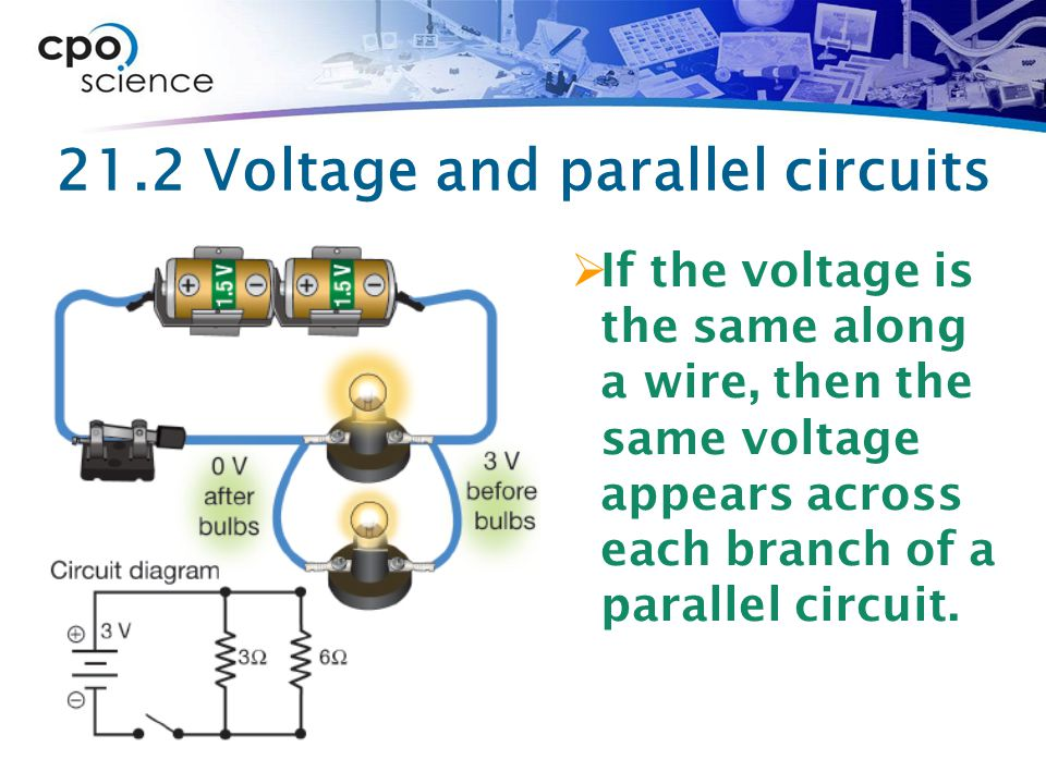 21.2 Voltage and parallel circuits  If the voltage is the same along a wire, then the same voltage appears across each branch of a parallel circuit.