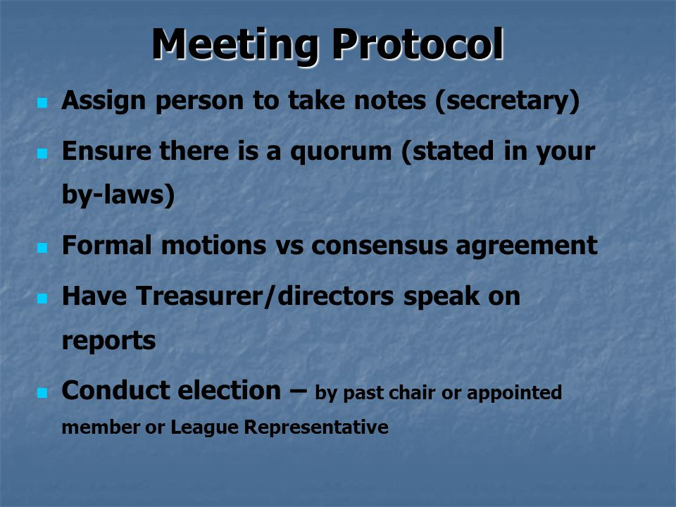 basic meeting protocol and procedures