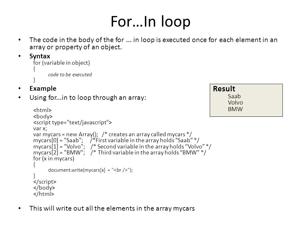 For…In loop The code in the body of the for...