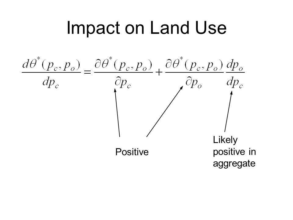 Impact on Land Use Positive Likely positive in aggregate