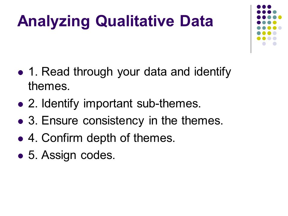 Analyzing Qualitative Data 1. Read through your data and identify themes.