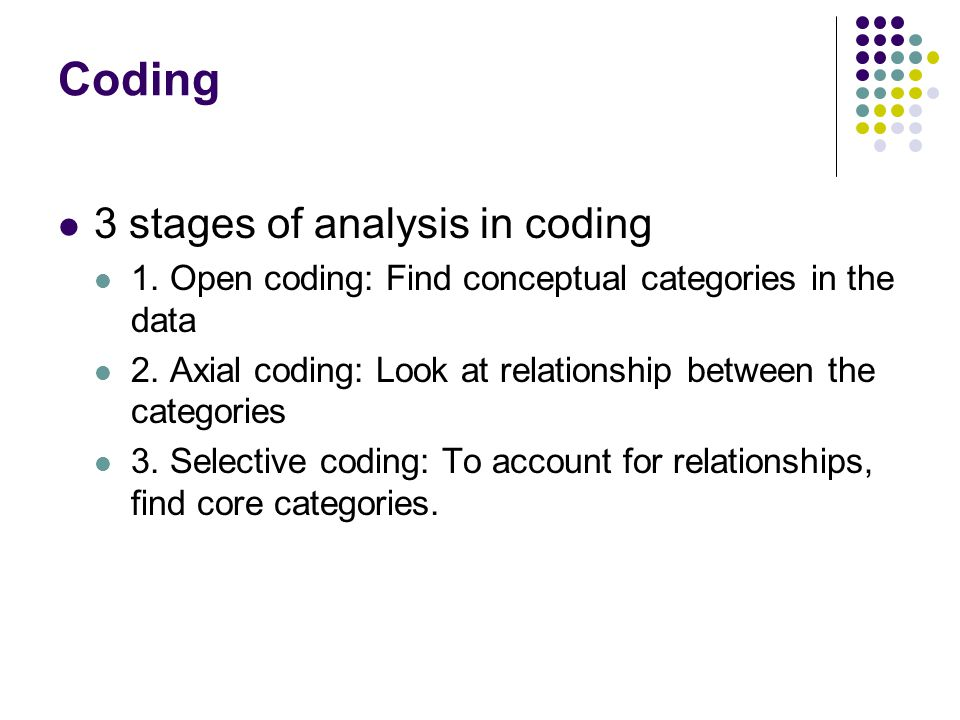 Coding 3 stages of analysis in coding 1. Open coding: Find conceptual categories in the data 2.