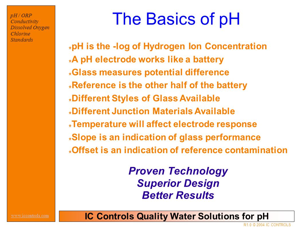IC Controls Quality Water Solutions for pH www.iccontrols.com R1.0 © 2004 IC CONTROLS pH / ORP Conductivity Dissolved Oxygen Chlorine Standards The Basics of pH pH is the -log of Hydrogen Ion Concentration A pH electrode works like a battery Glass measures potential difference Reference is the other half of the battery Different Styles of Glass Available Different Junction Materials Available Temperature will affect electrode response Slope is an indication of glass performance Offset is an indication of reference contamination Proven Technology Superior Design Better Results
