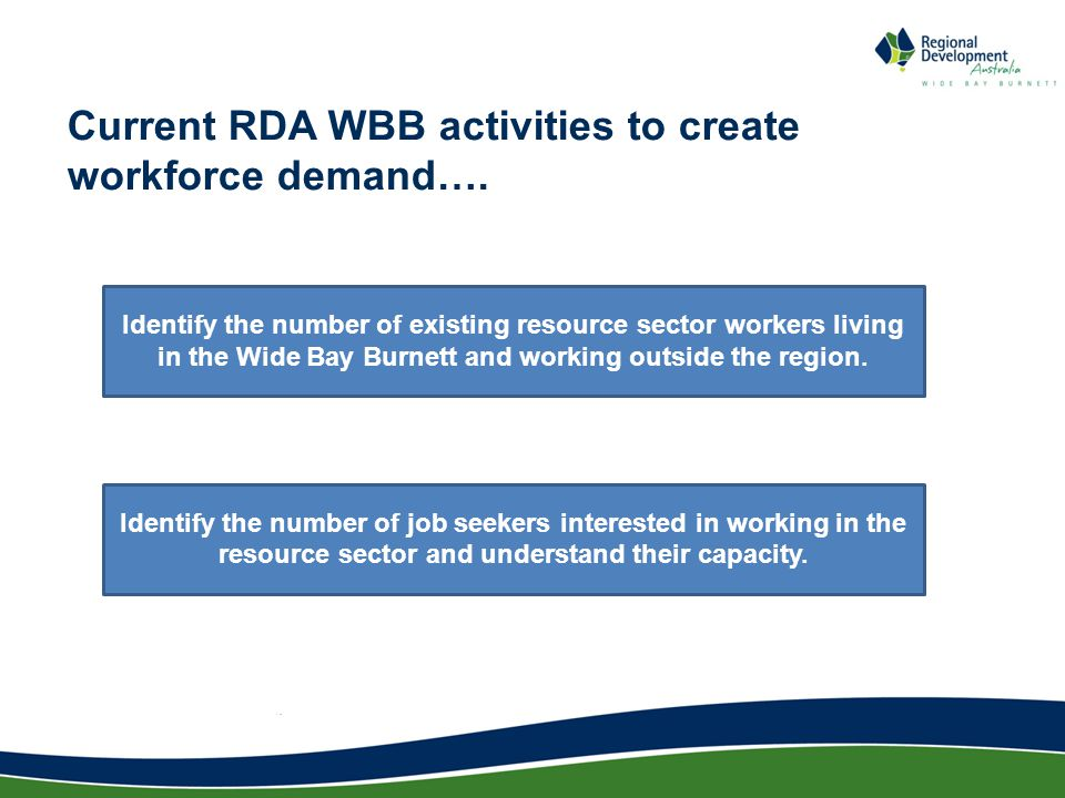 Current RDA WBB activities to create workforce demand….