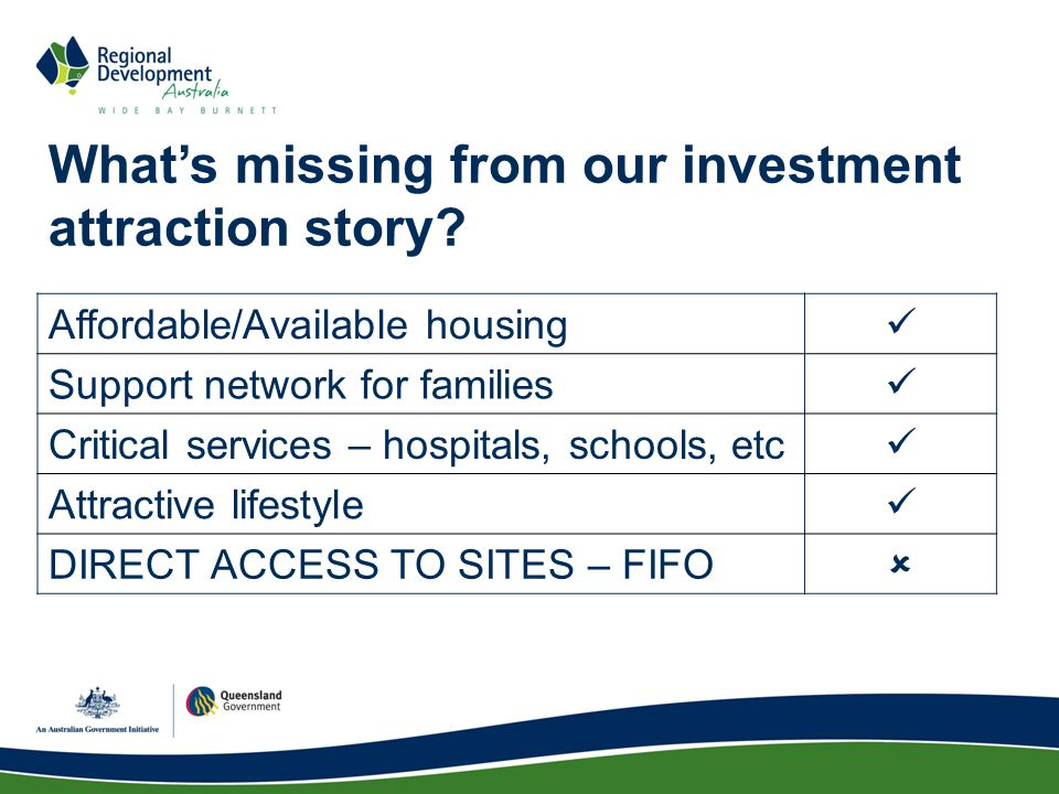 What's missing from our investment attraction story.